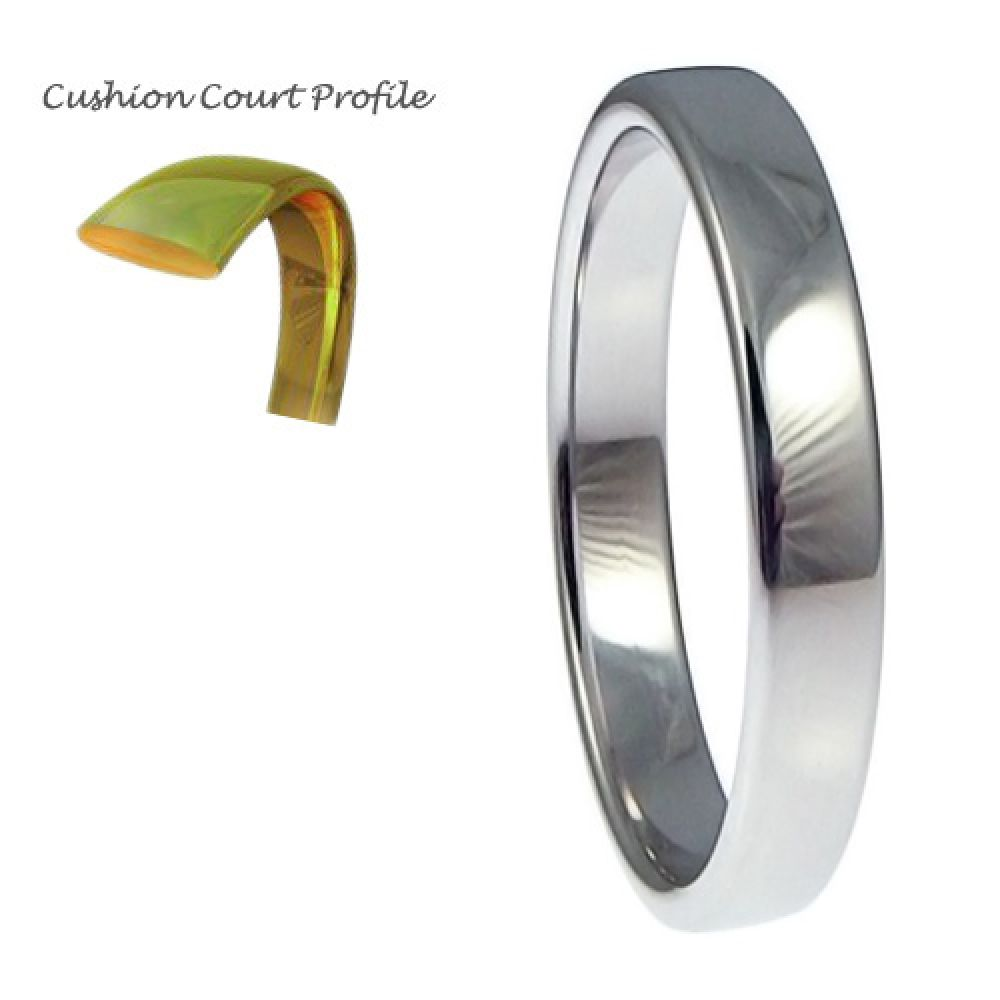 2.5mm 9ct White Gold Heavy Cushion Court Comfort Wedding Rings Bands
