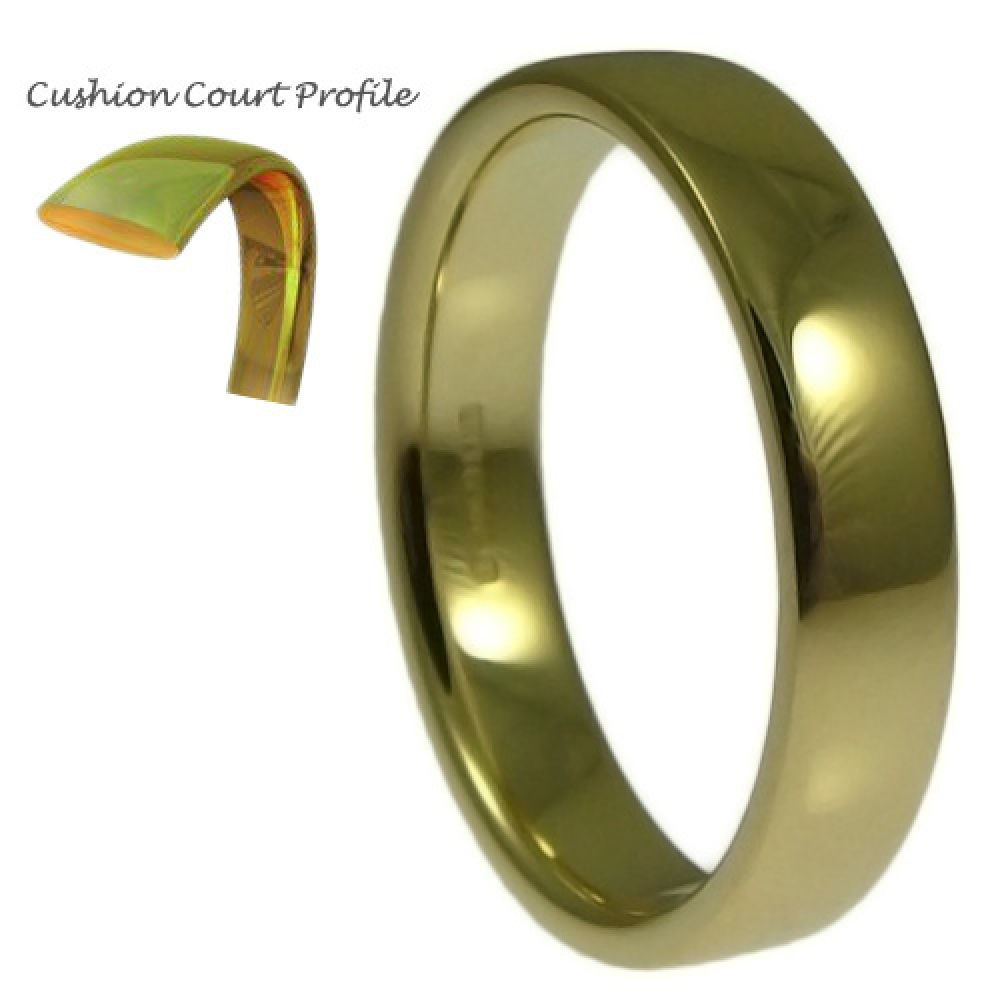 4mm 9ct Yellow Gold Heavy Cushion Court Comfort Wedding Rings Bands