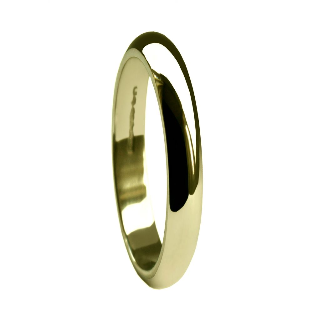 2mm 9ct Yellow Gold Extra Heavy D Shaped Wedding Rings Band At Size H ( 3 3/4)