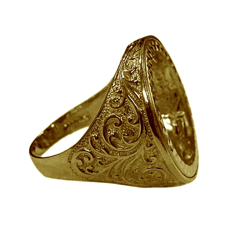 9ct Yellow Gold Patterned Full Sovereign Ring Mount
