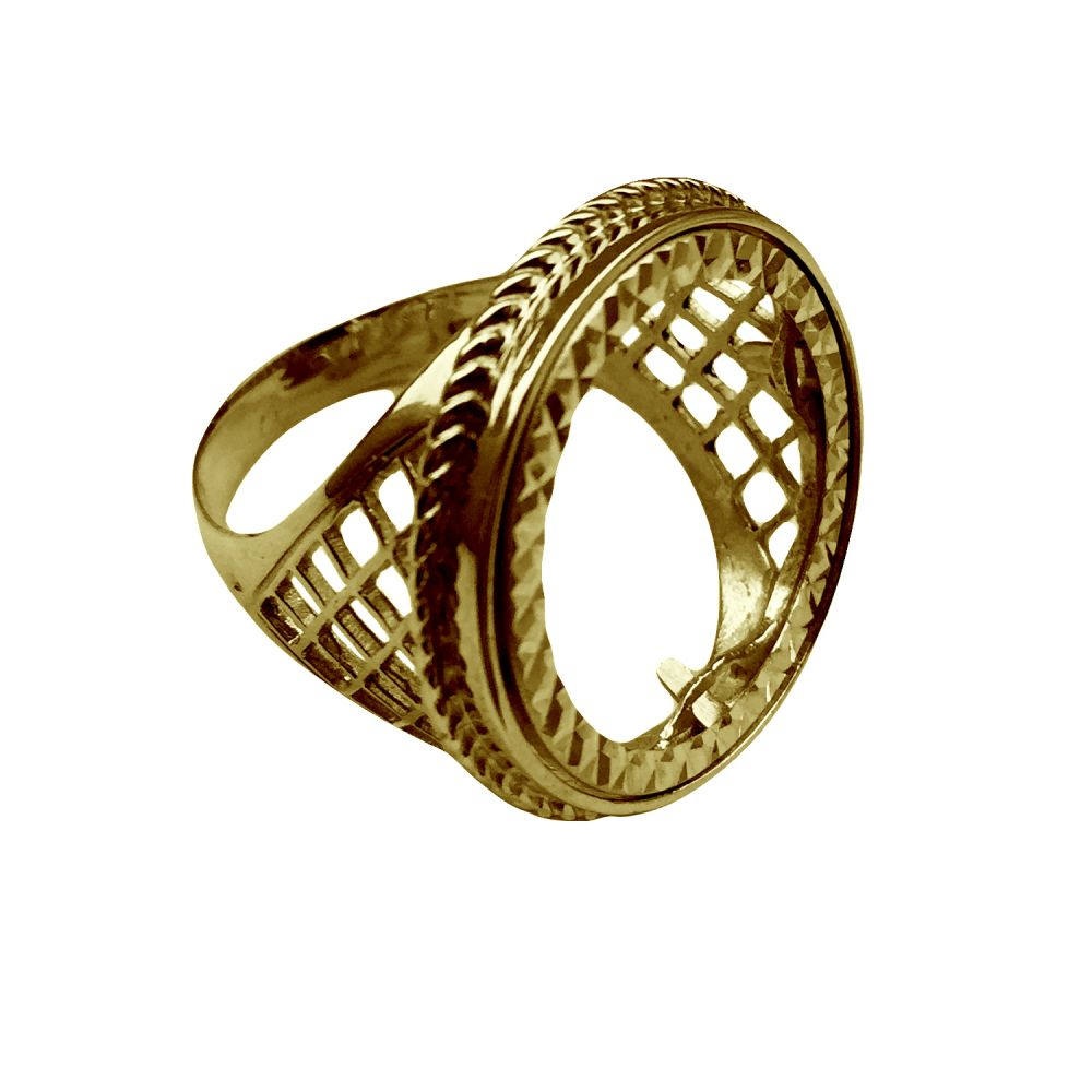 9ct Yellow Gold Lattice Style Full Sovereign Ring Mount