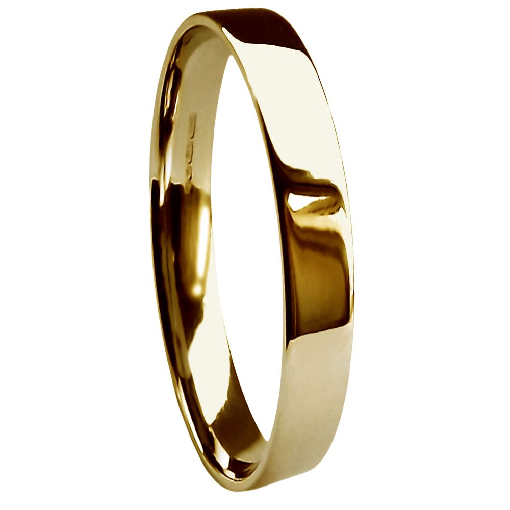 2.5mm 9ct Yellow Gold Heavy Flat Court Profile Wedding Rings Bands