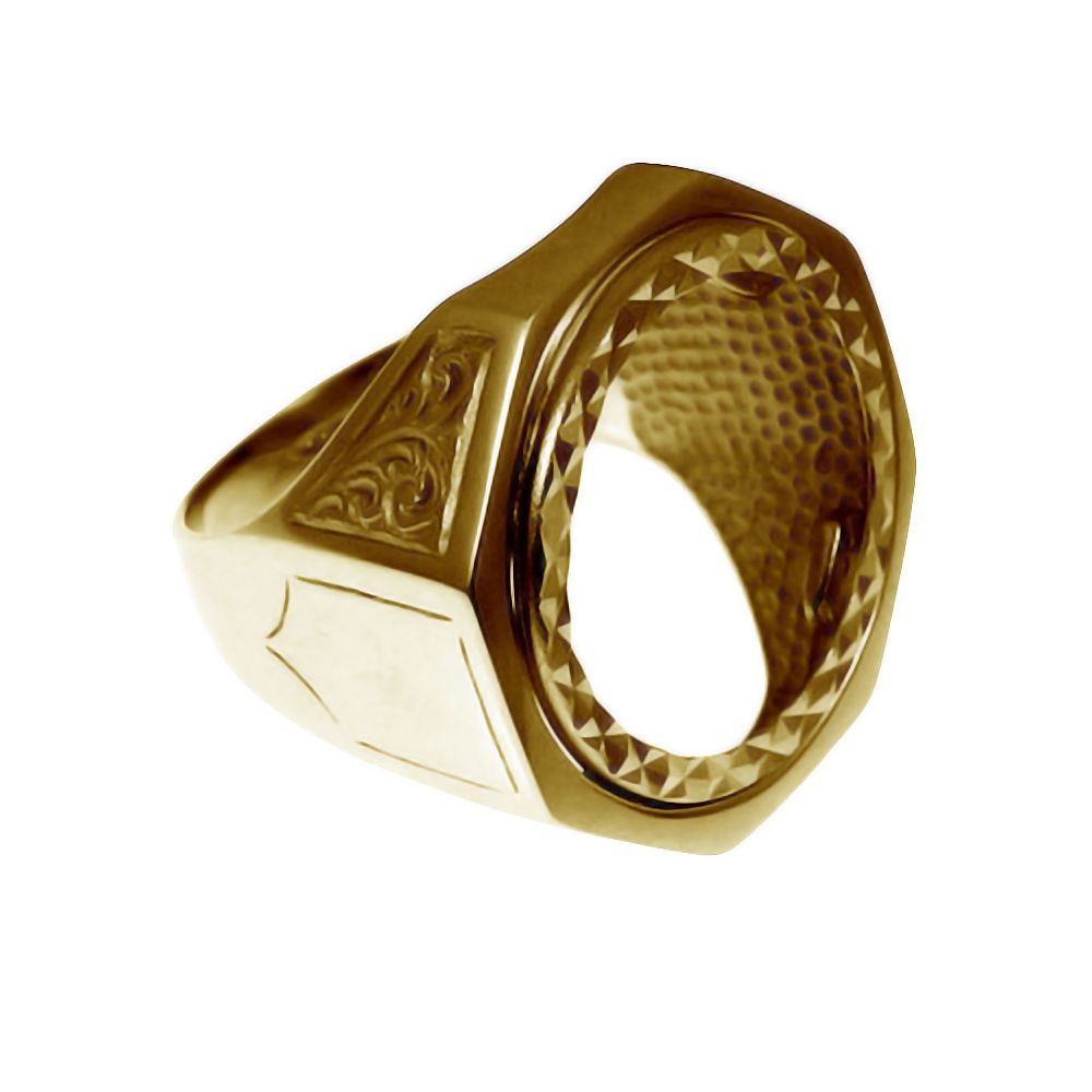 9ct Yellow Gold Hexagonal Half Sovereign Ring Mount
