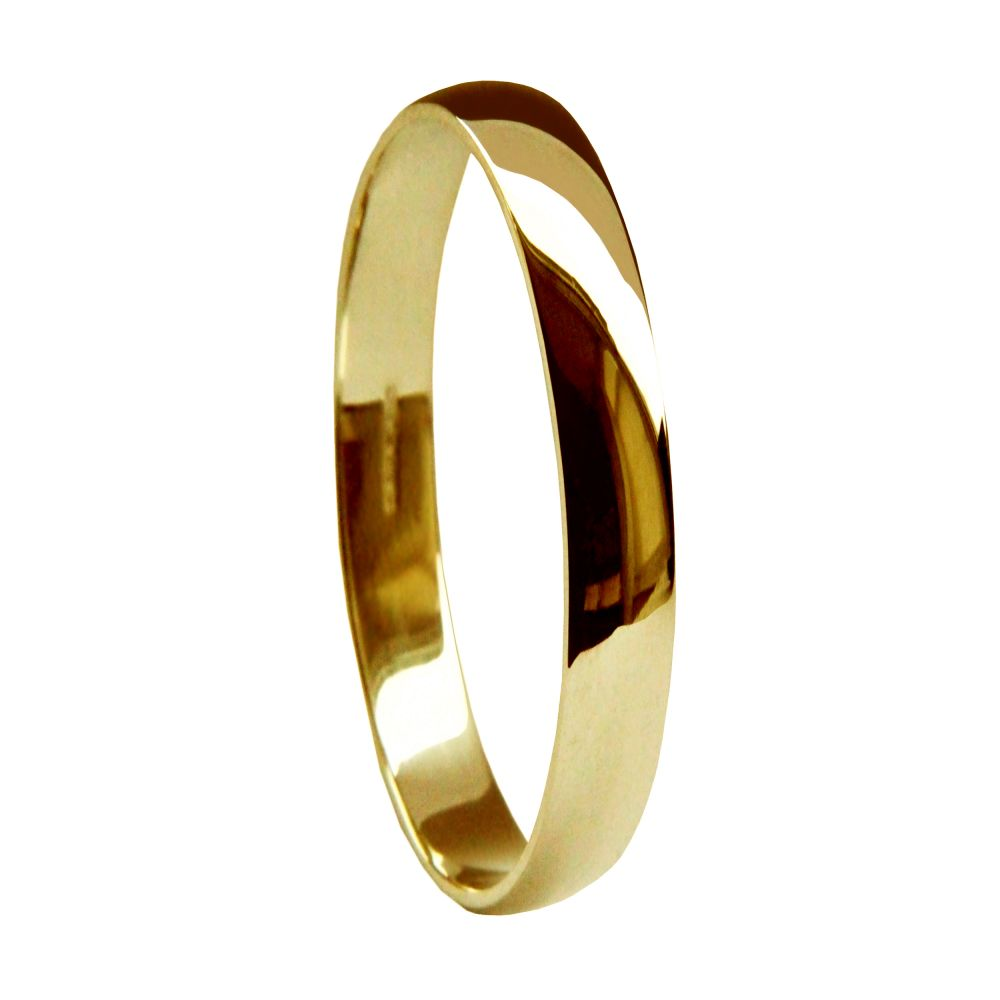 2mm 9ct Yellow Gold Light D Shaped Wedding Rings Bands