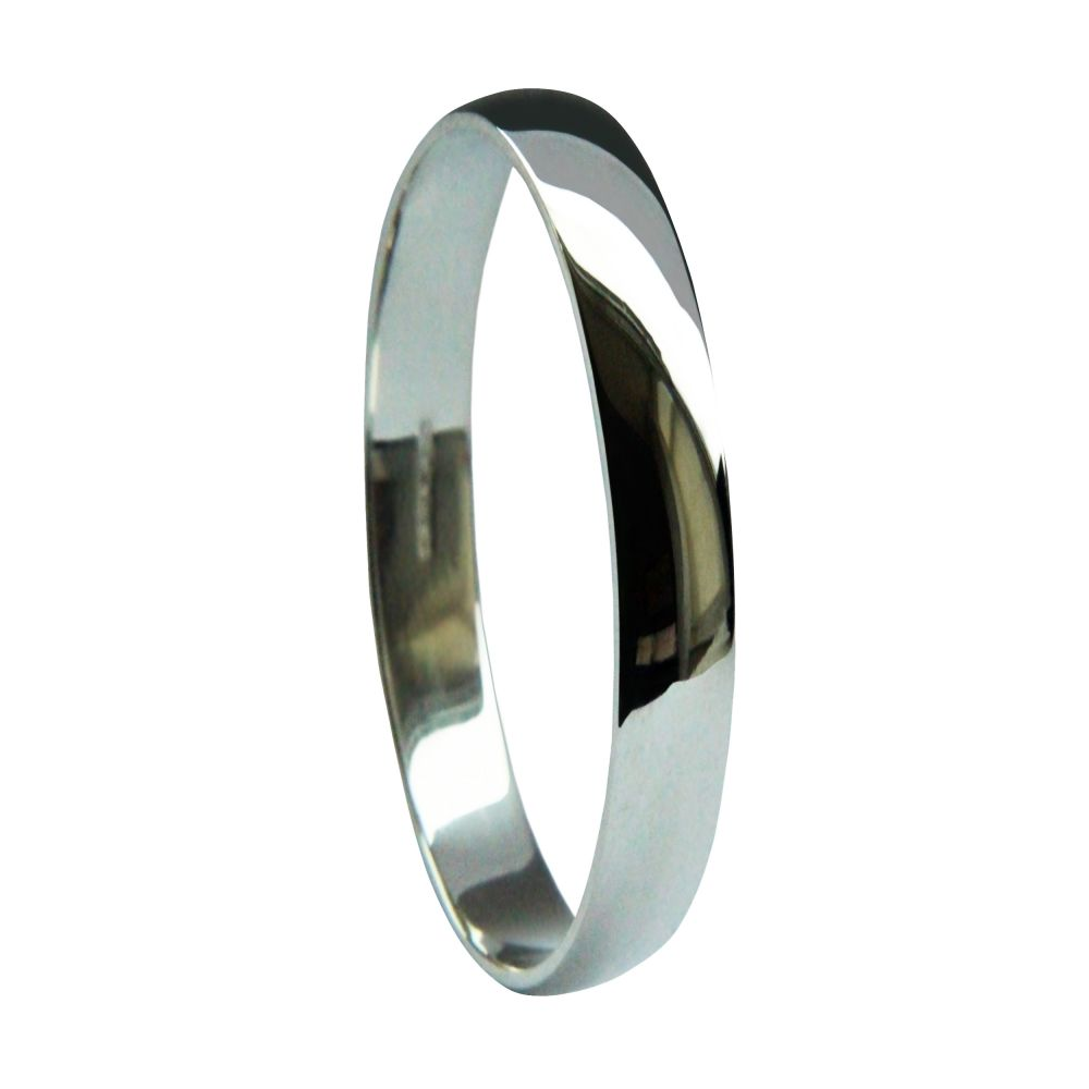 2mm 9ct White Gold Light D Profile Wedding Rings Bands