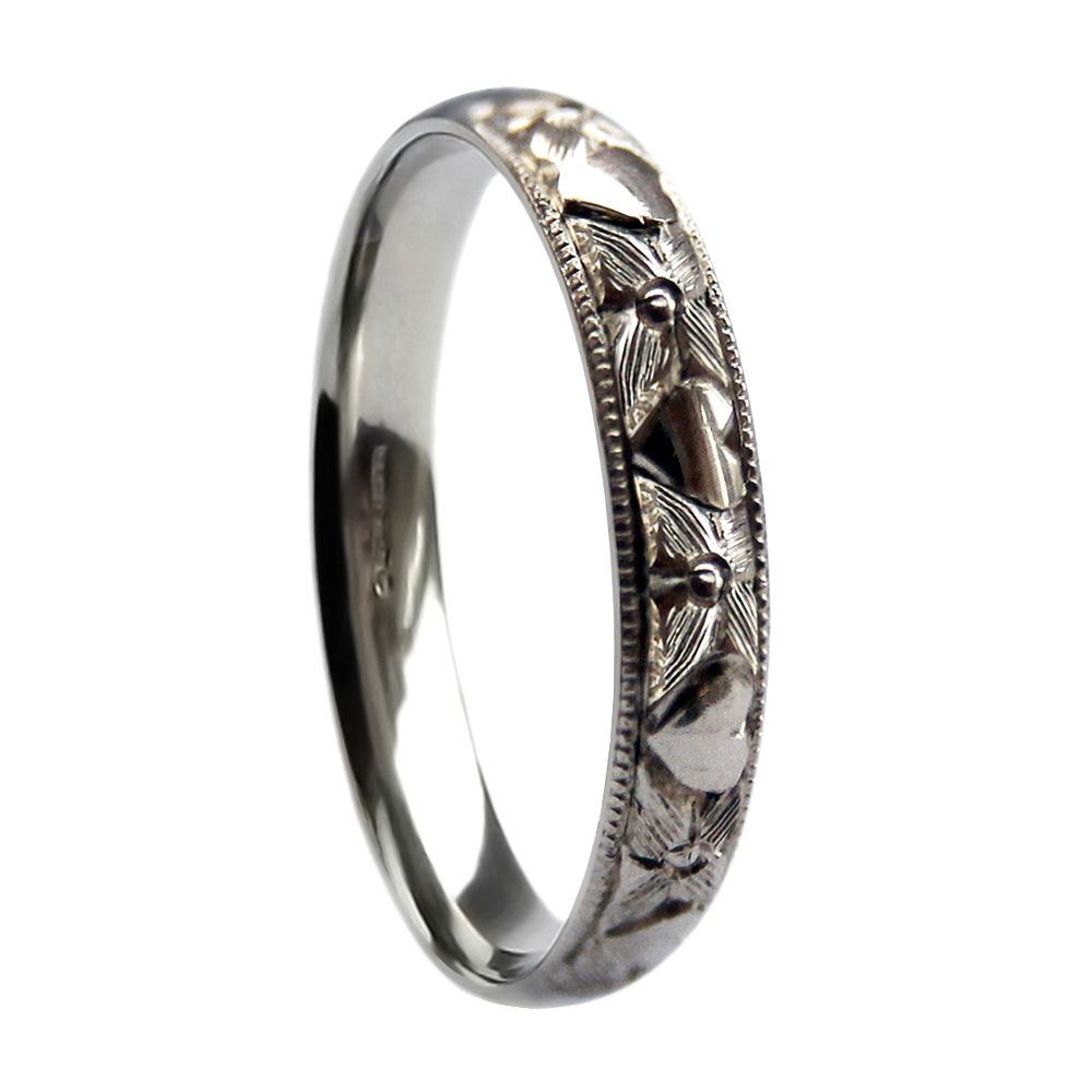 3mm Vintage Hand Engraved Court Wedding Band With Orange Blossom & Hearts Design 925 Sterling Silver