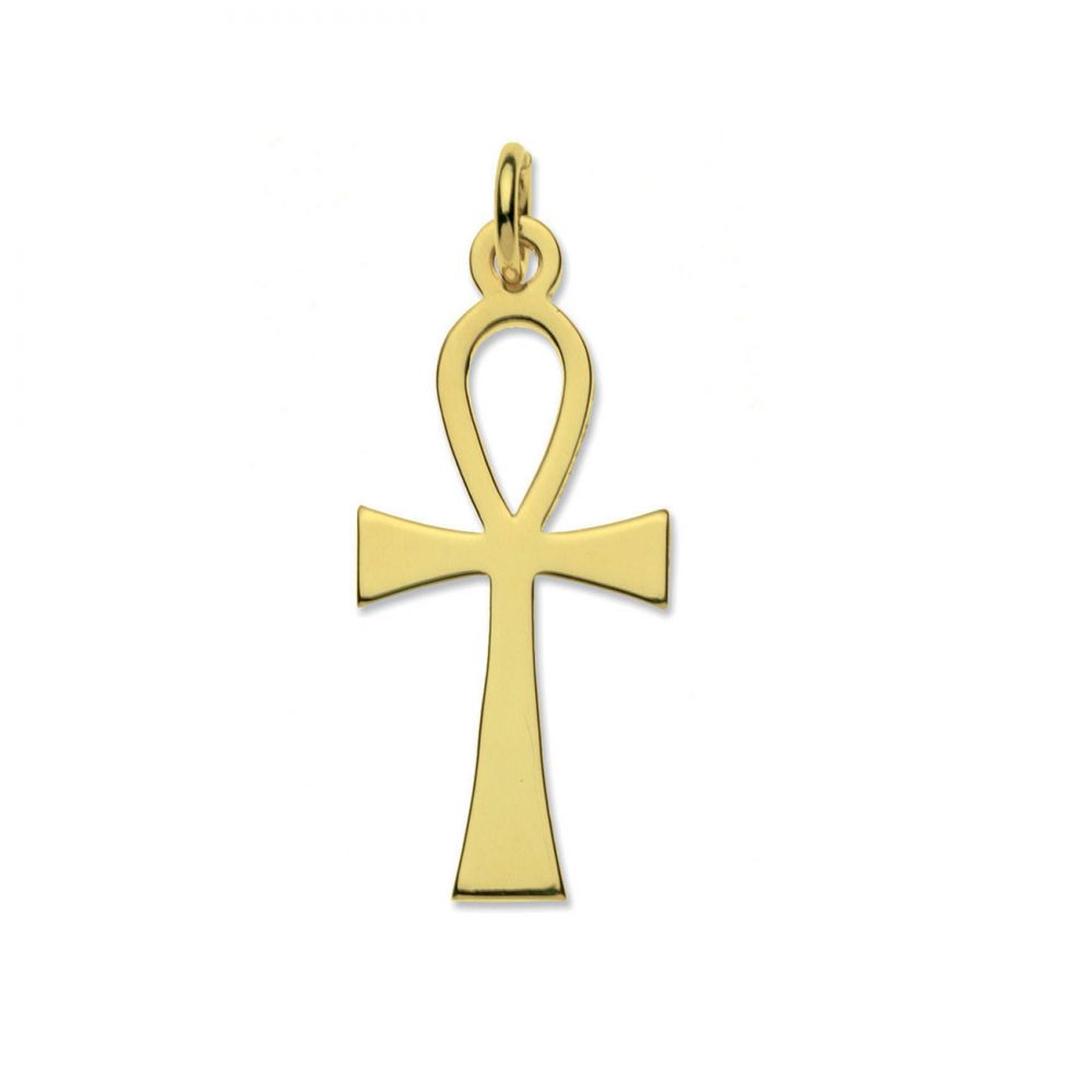 9ct Solid Gold Ankh Cross & Optional Diamond Cut Fine Hanging Belcher Chain
