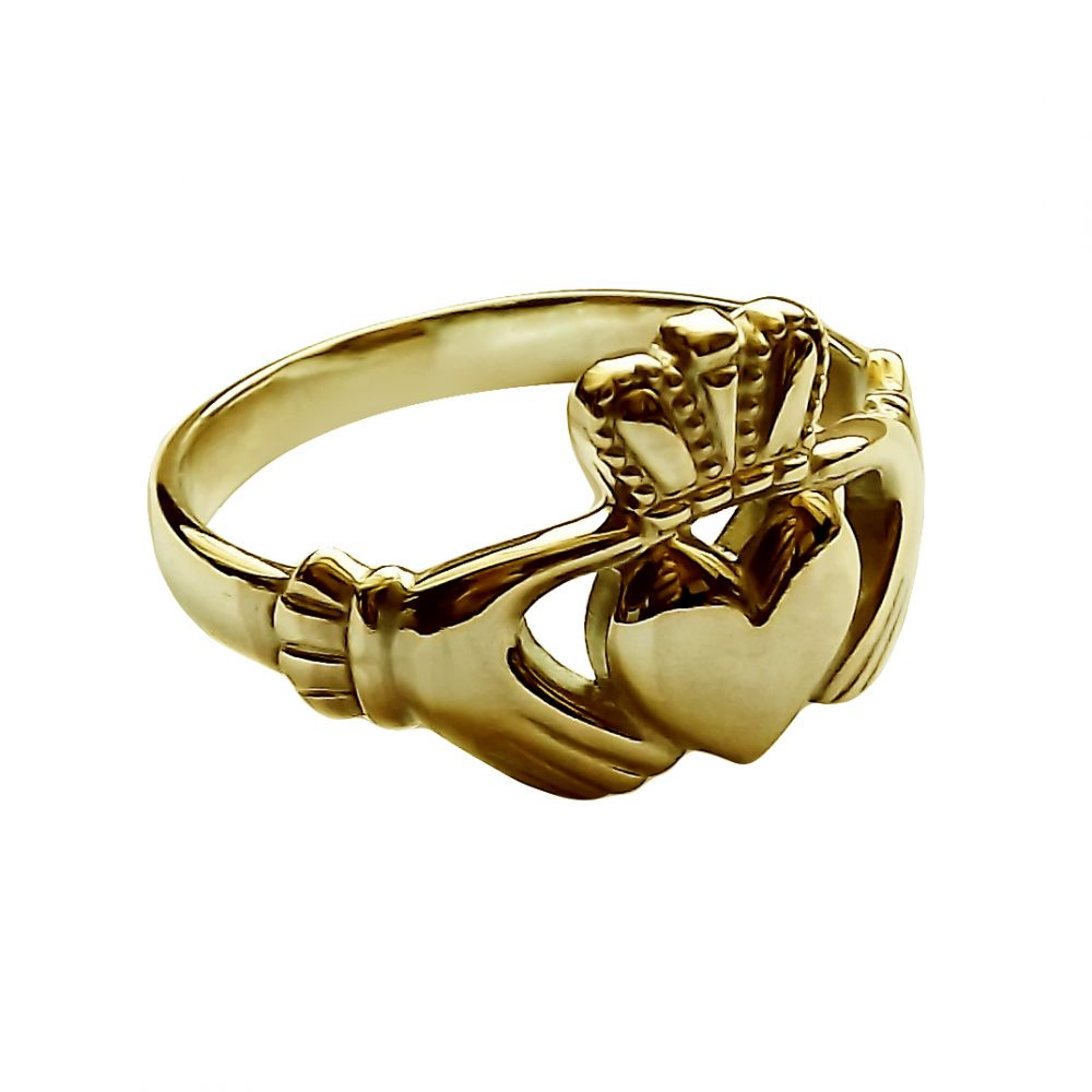 9ct Yellow Gold Ladies Irish Claddagh Rings Face Size 11.8mm