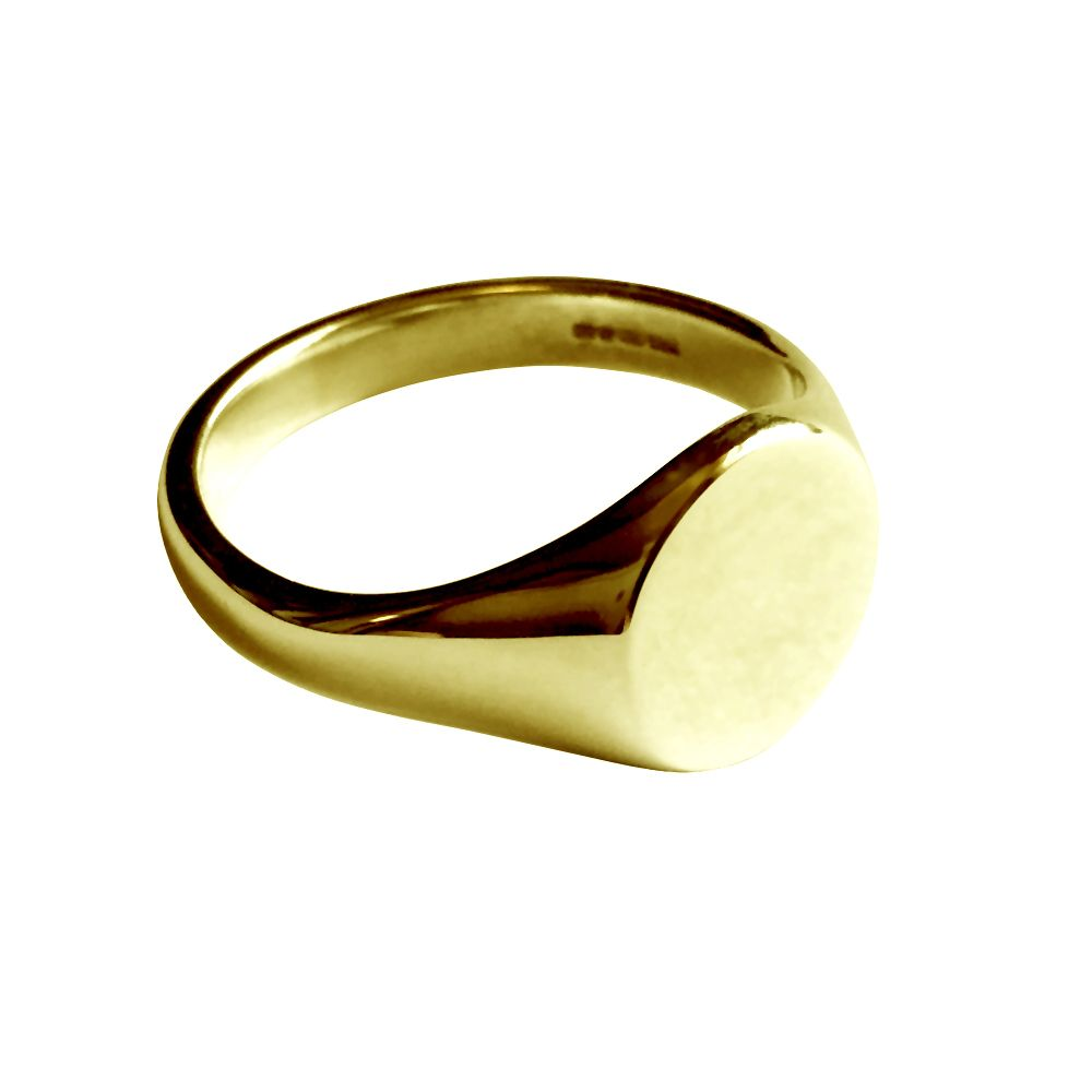 18ct Yellow Gold Round Signet Rings 13 x 13 x 2mm