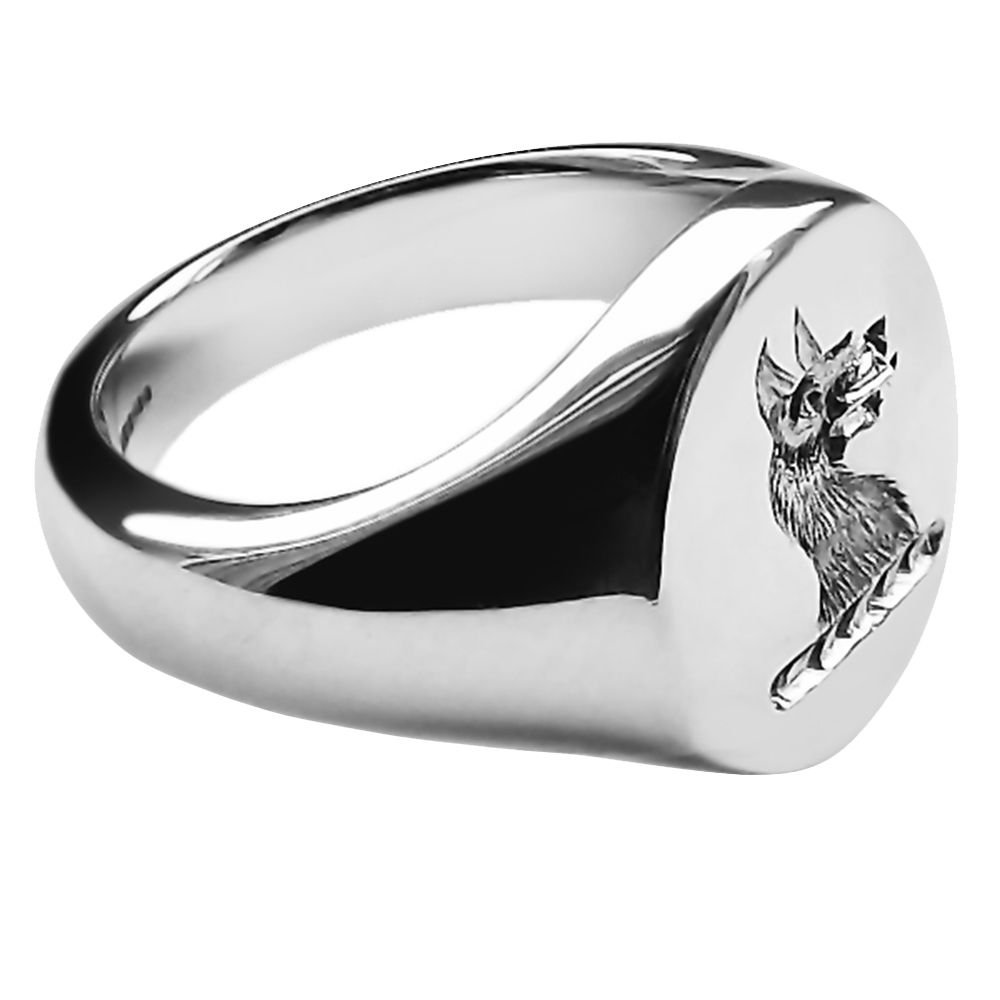 925 Sterling Silver Oval Family Crest Signet Rings 16 x 13 x 2.75mm
