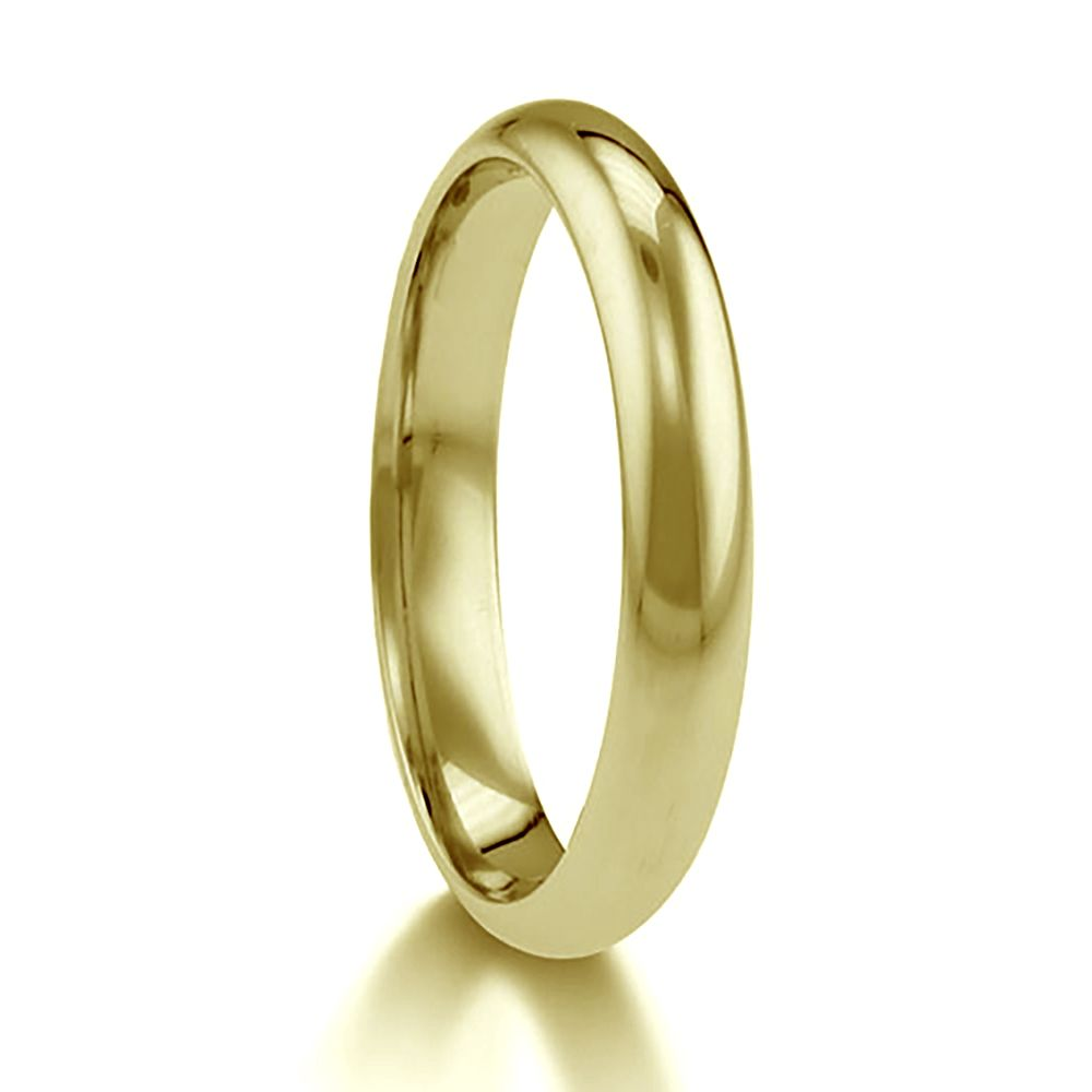2.5mm 9ct Yellow Gold Paris Profile Wedding Rings Bands