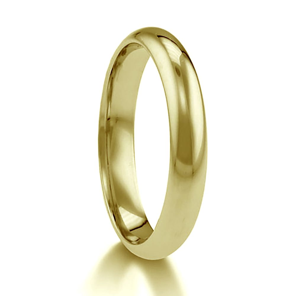 3mm 9ct Yellow Gold Paris Profile Wedding Rings Bands