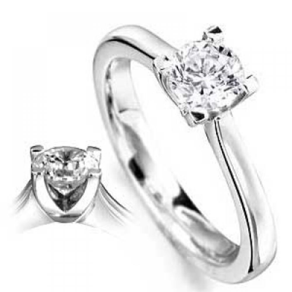 18ct G SI Round Cut Single Stone Solitaire Diamond Ring
