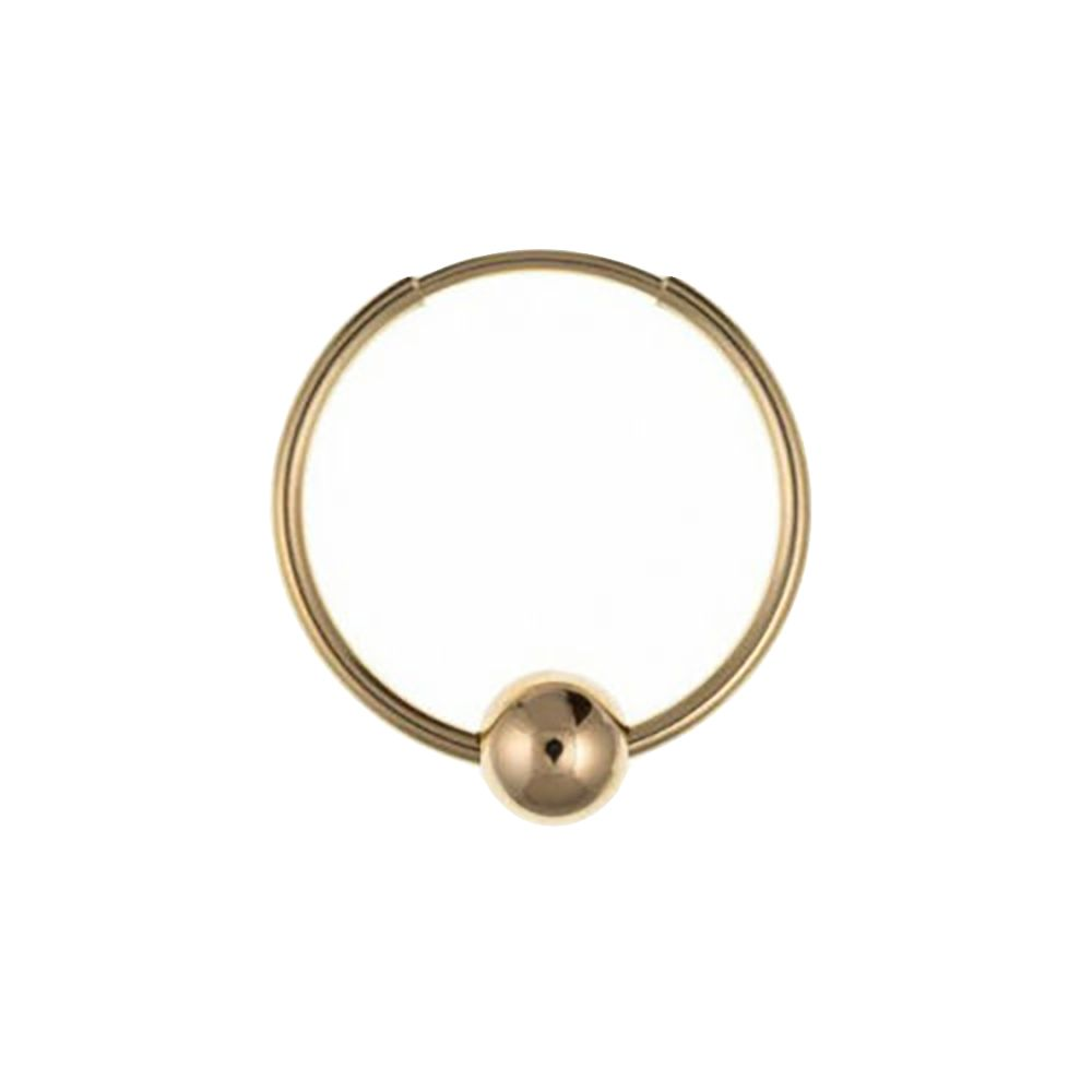 9ct Yellow Gold Gents 18mm  Hoop Earring with Ball UK Made