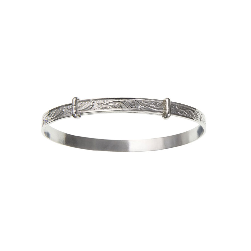Sterling Silver 5mm Feature Hallmarked Expanding Bangle Woman's / Child's / Babies UK 925 HM