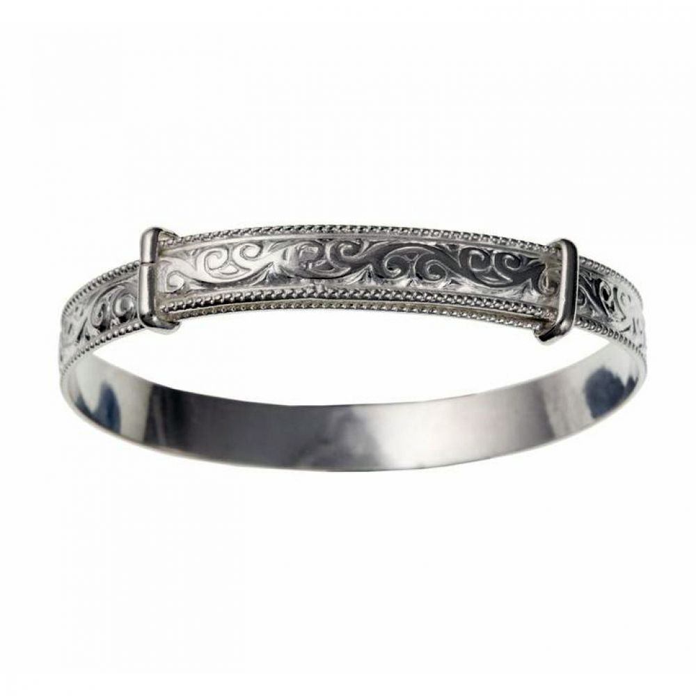 925 Sterling Silver 6mm Filigree Expanding Bangle Woman's / Child's / Babies UK HM