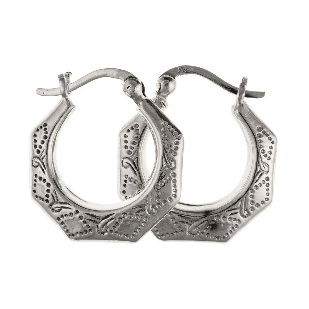 925 Sterling Silver Patterned Creole Earrings With Lever Catches