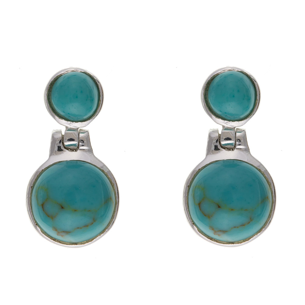 925 Sterling Silver Real Turquoise 15mm Drop Earrings