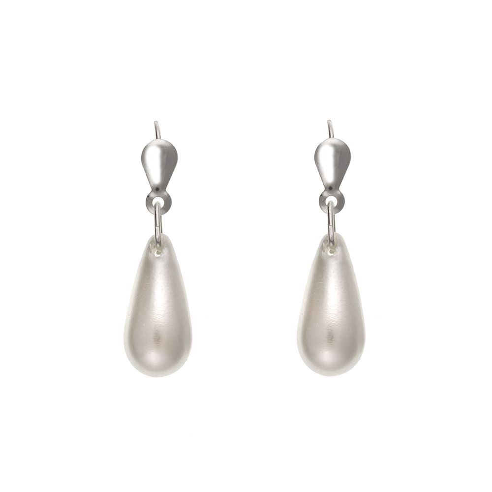 925 Sterling Silver Simulated Pearl Drop Earrings