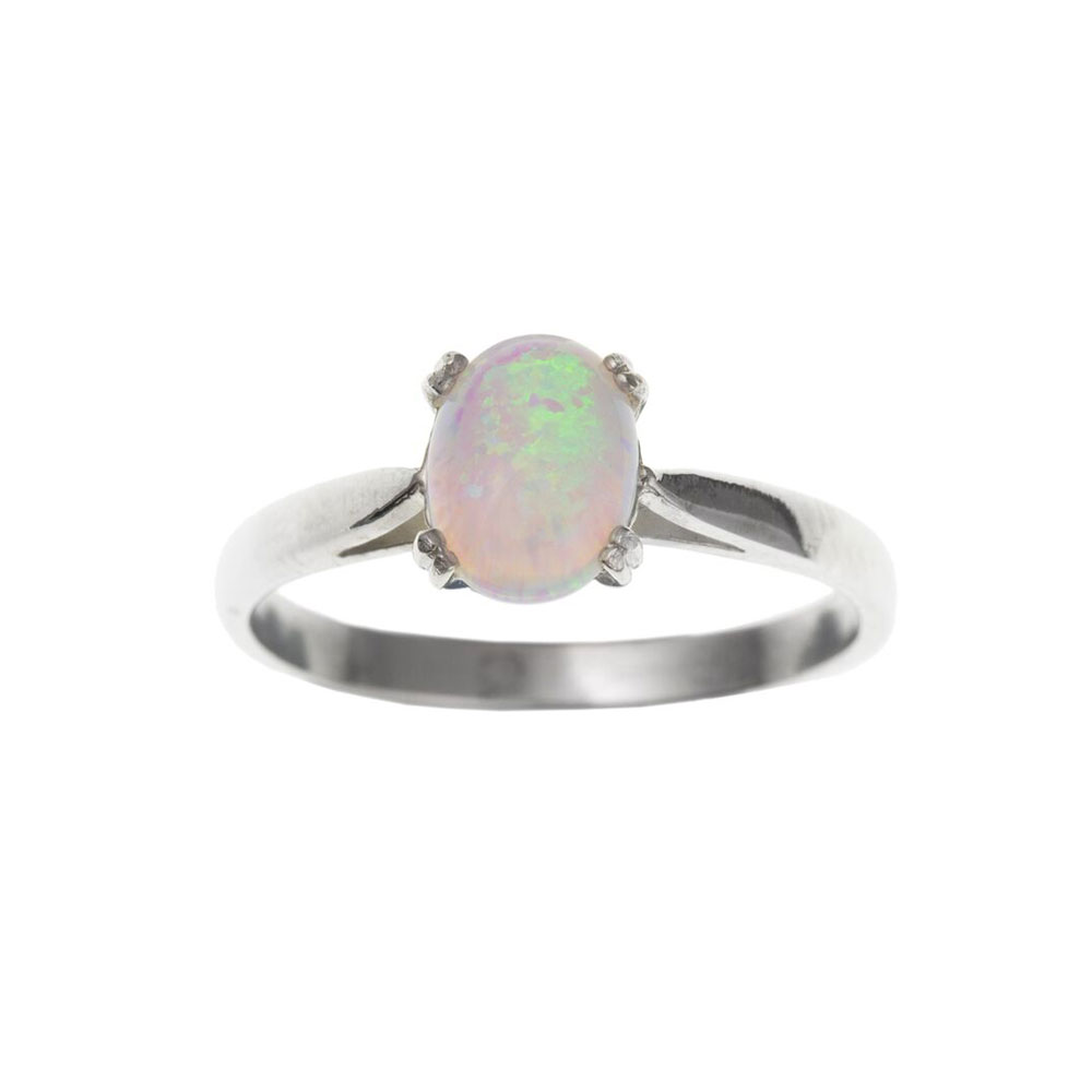 925 Sterling Silver Synthetic Opal 8mm Single Stone Dress Ring