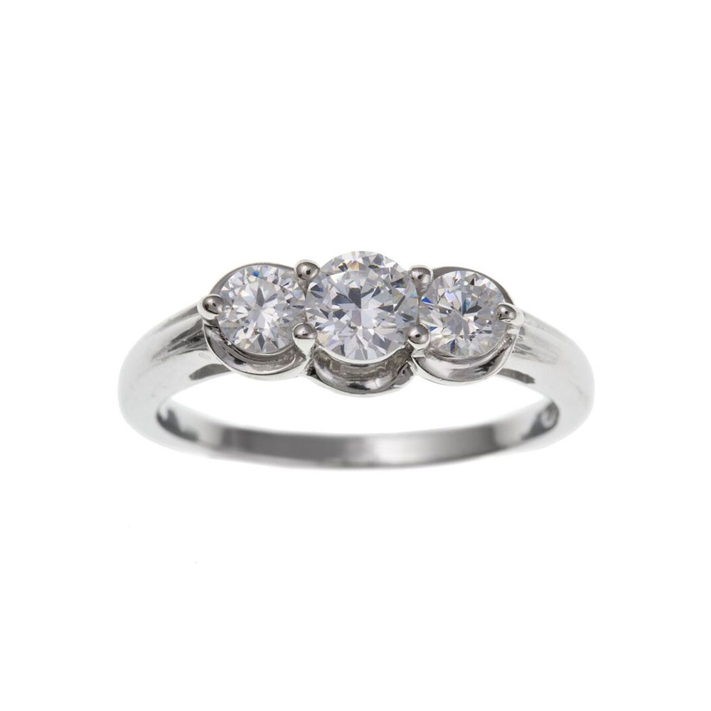 925 Sterling Silver and CZ 7mm Three Stone Dress Ring