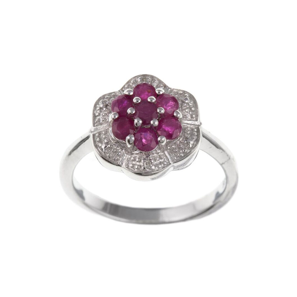 925 Sterling Silver Real Ruby and Diamond 12mm Cluster Dress Ring