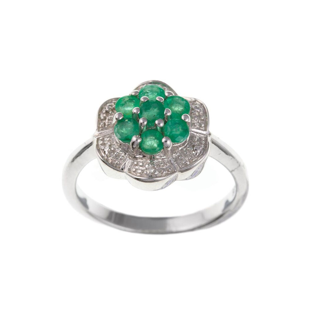 925 Sterling Silver Real Emerald and Diamond 12mm Cluster Dress Ring