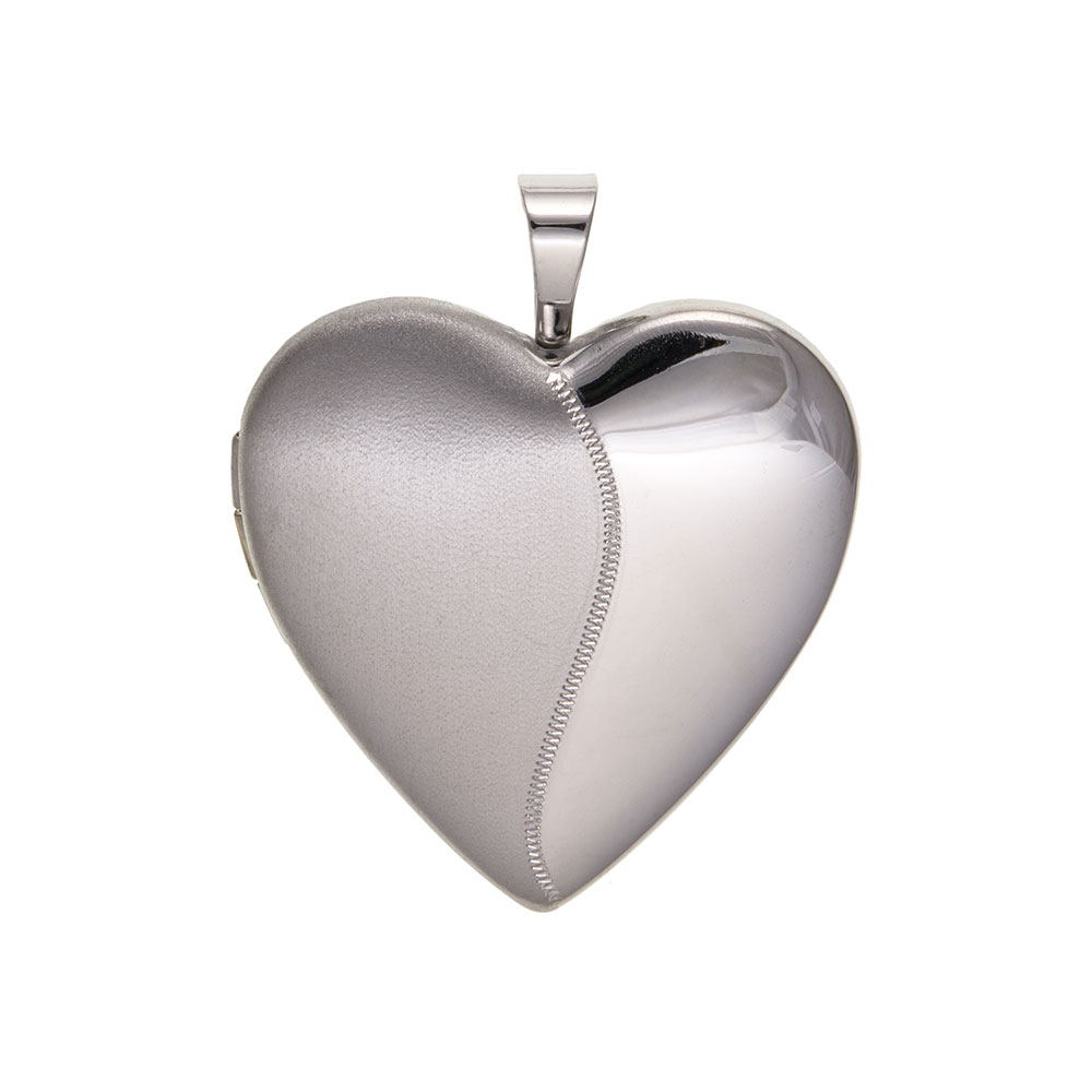 925 Sterling Silver Satin / Plain Heart Locket 22 x 18mm