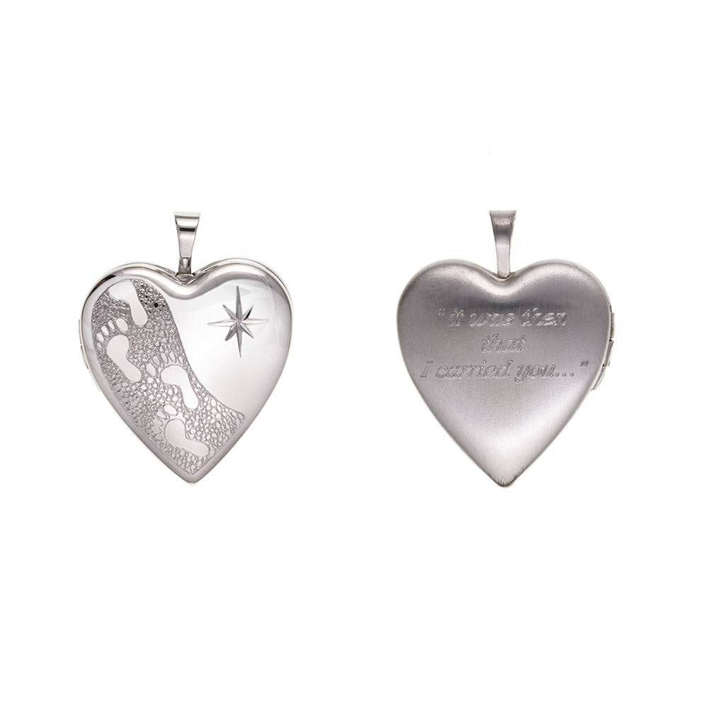 "925 Sterling Silver ""FOOTPRINTS"" Heart Locket 23 x 20mm"