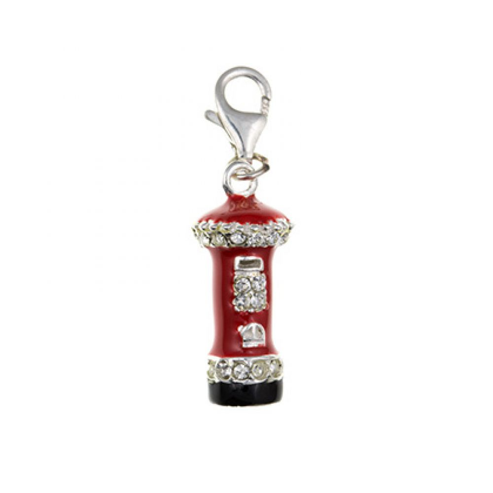 925 Sterling Silver Inlayed Post Box Charm