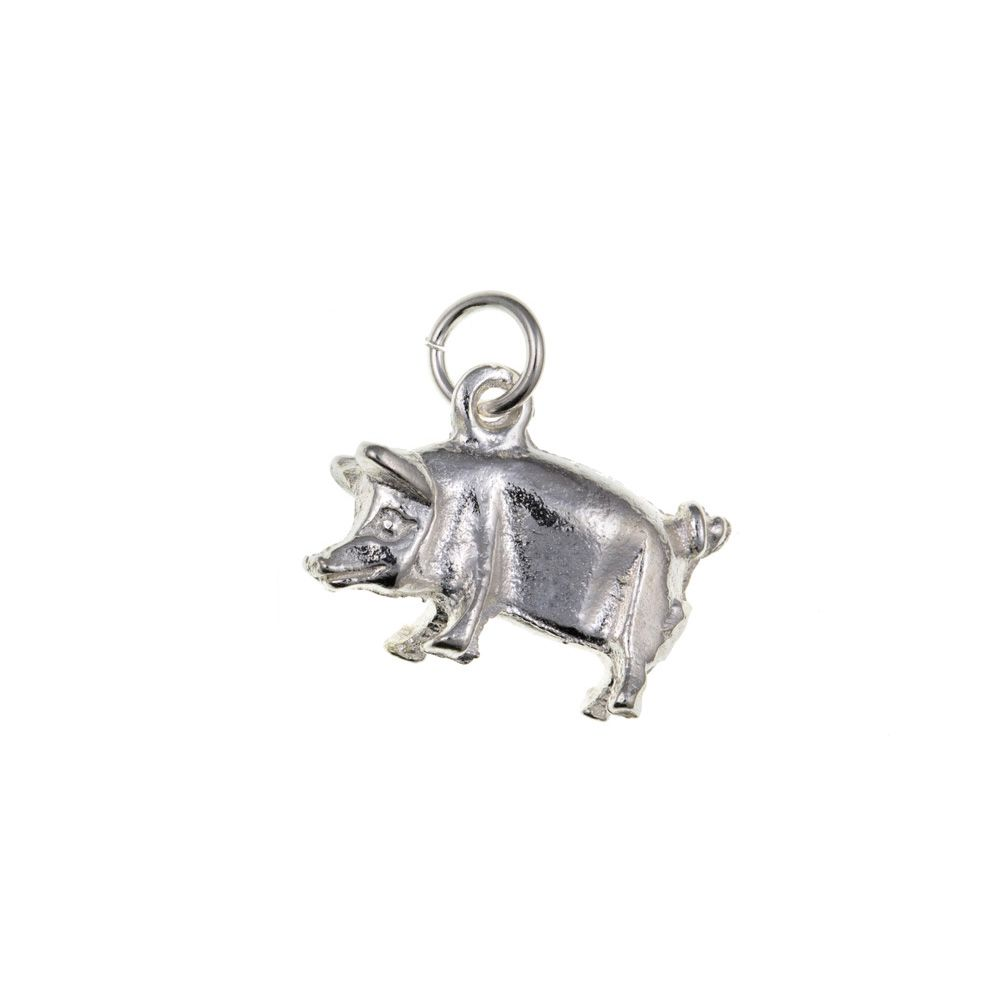 925 Sterling Silver 3D Pig Charm 2.6g