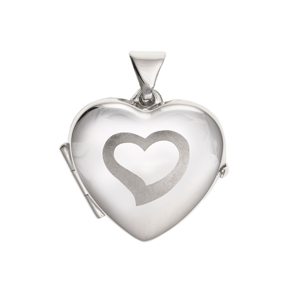 925 Sterling Silver Part Satin Heart Locket 20 x 16mm