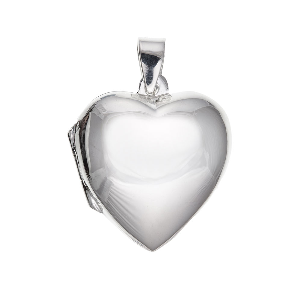 925 Sterling Silver Plain Heart Locket 30 x 22mm