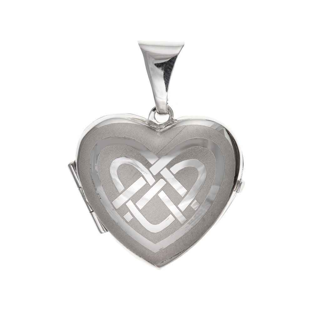 925 Sterling Silver Celtic Heart Patterned Locket 25 x 20mm