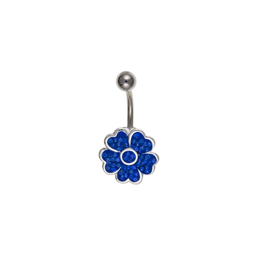14mm Blue Crystal Flower And Sterling Silver Belly Bar