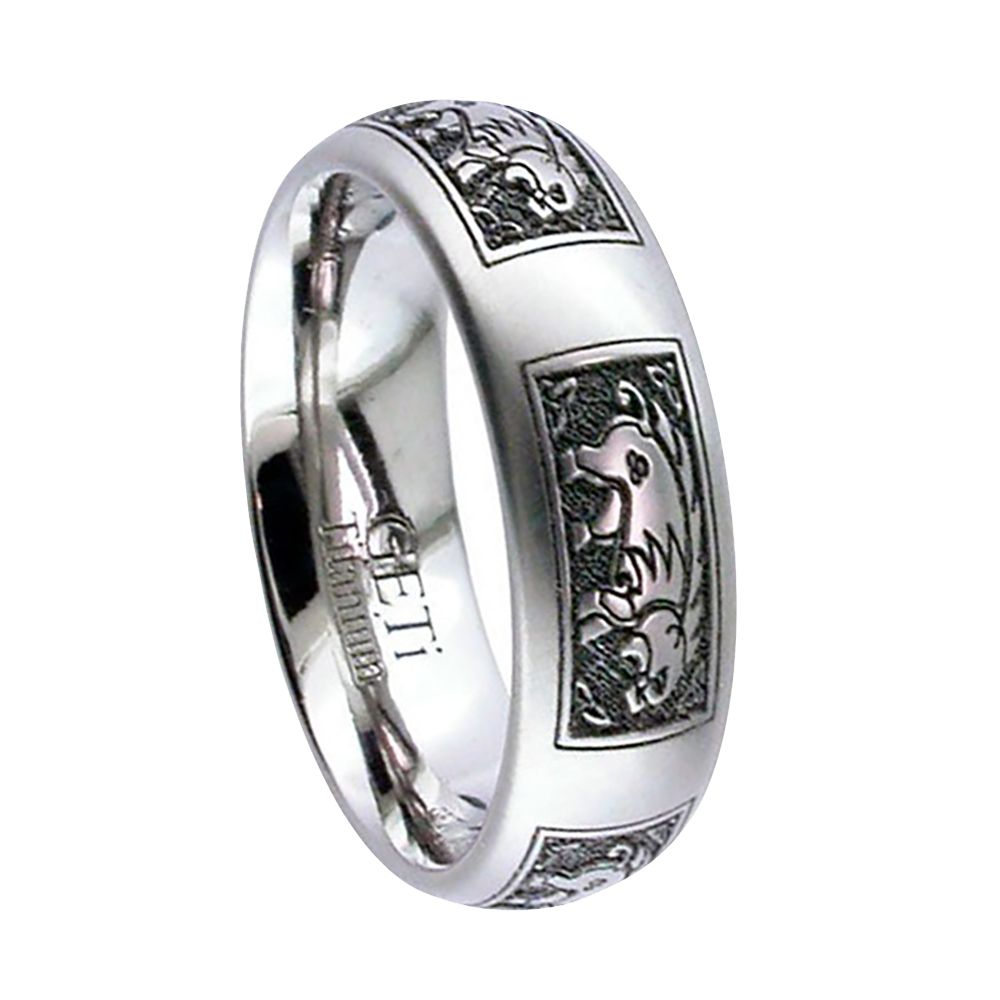 Titanium Celtic Animal Design Court Comfort Wedding Ring