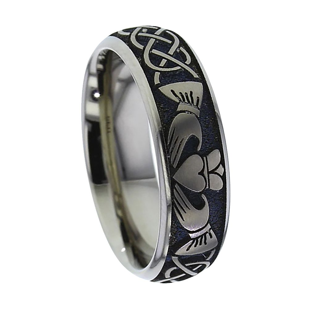 Titanium Claddagh Court Comfort Wedding Ring