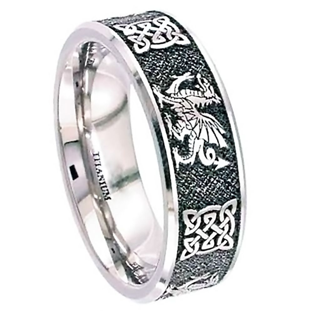 SALE 7mm Titanium Celtic Welsh Dragon Flat Court Wedding Ring At Size Y