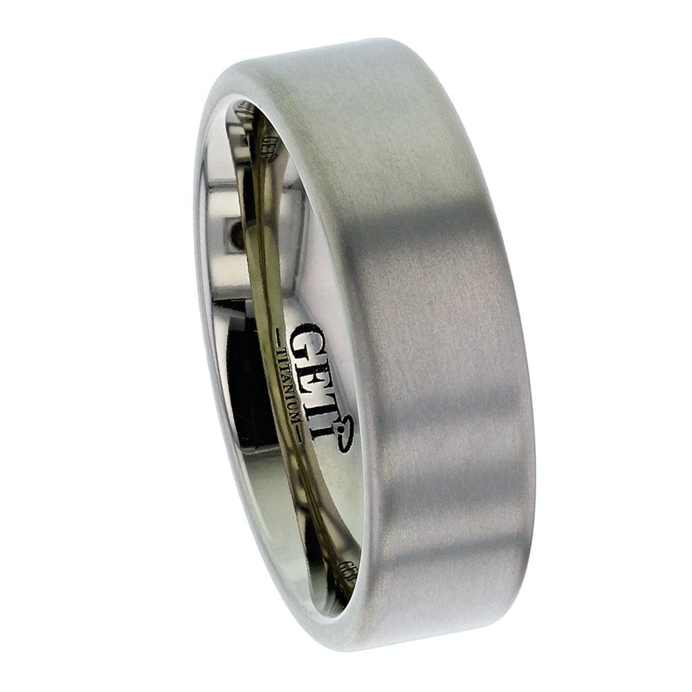 Titanium Flat Court Shaped Wedding Ring