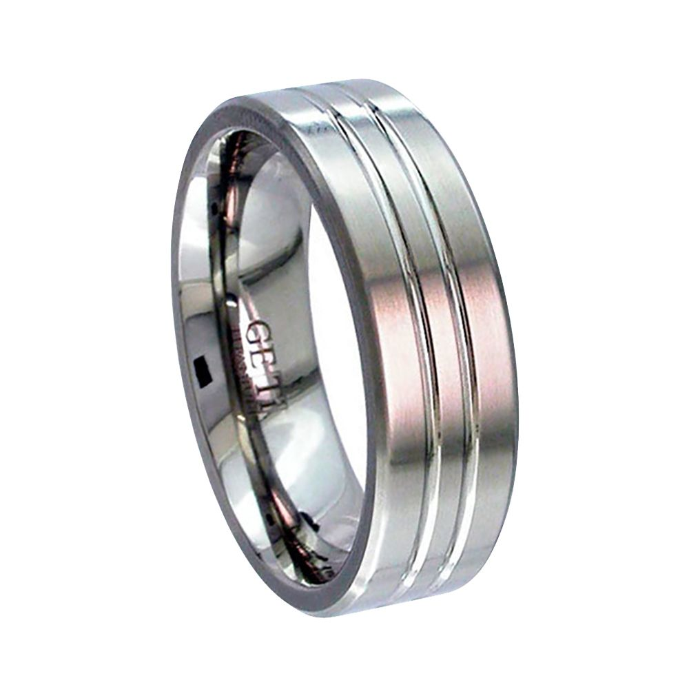 Titanium Flat Court With Grooves Wedding Ring