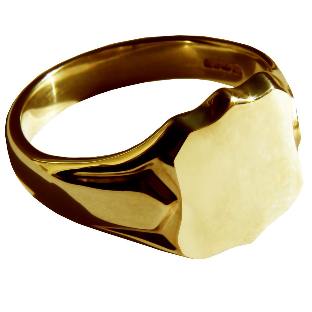 9ct Yellow Gold Shield shaped Signet Rings 14 x 12mm 8.1g