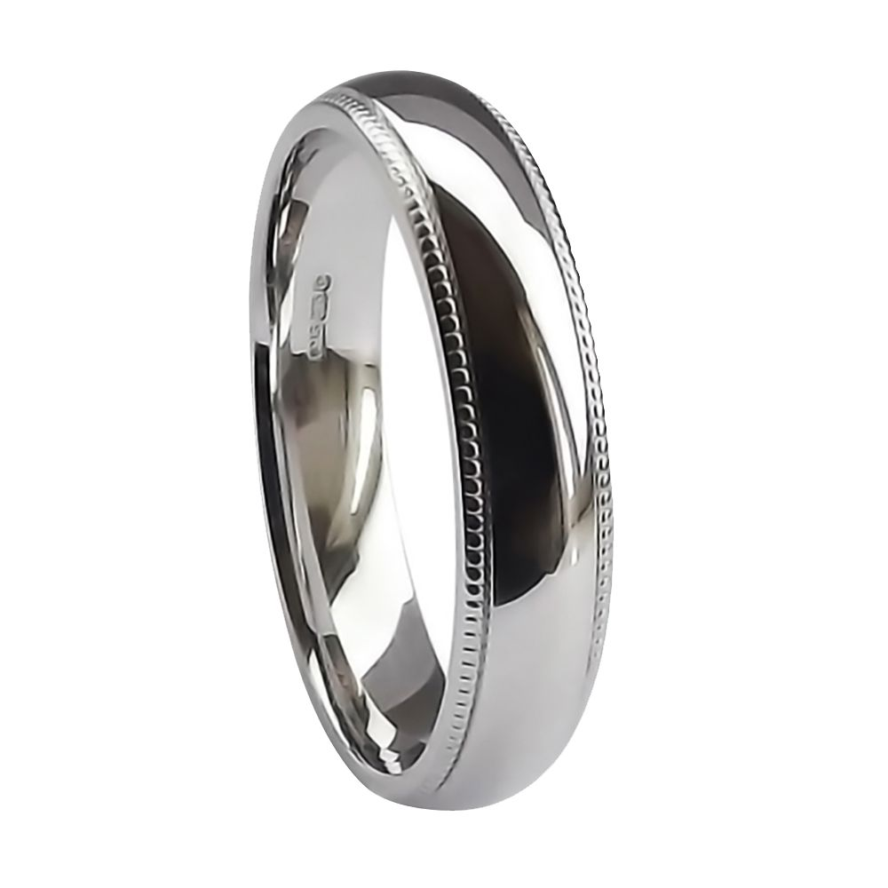 5mm 9ct White Gold Heavy Court Comfort Wedding Ring Band With A Milled Edge At Size U ( 10 1/4 )