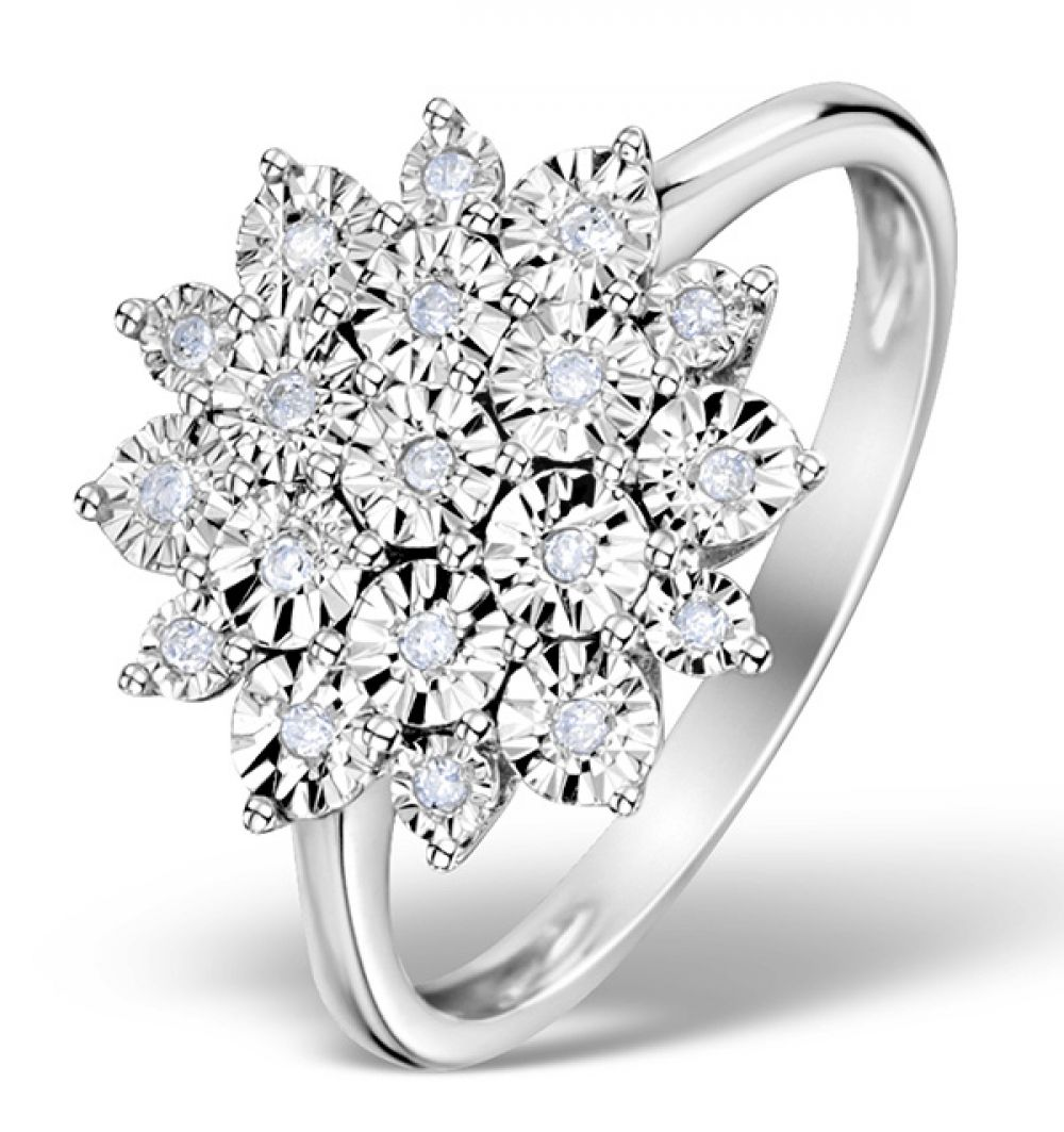 9ct White Gold 0.10ct Diamond Cluster Ring