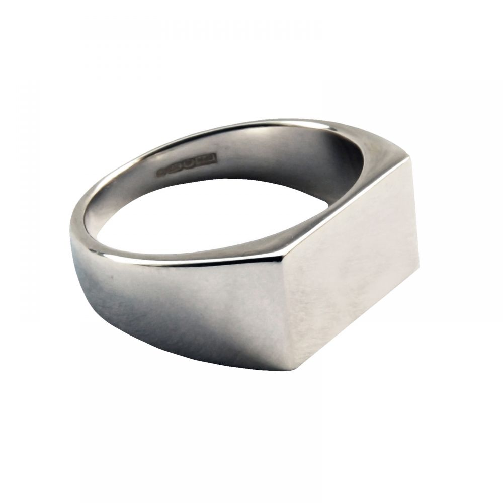 925 Sterling Silver Initial Signet Rings 14 x 8mm 7.7g